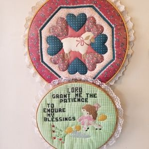 Vintage handmade  quilted cross stitch farmhouse